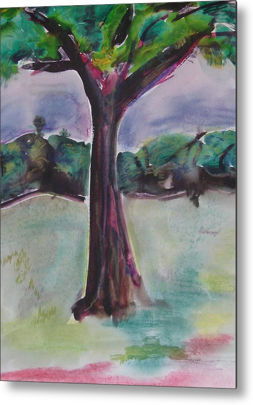 Tree Metal Print featuring the painting Wounded Tree by Rima Bidkar