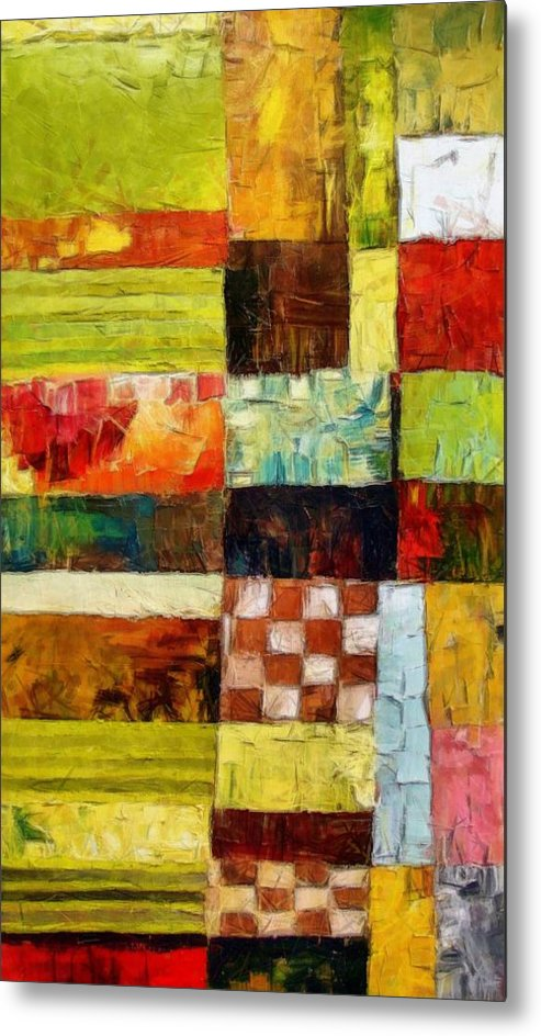 Patchwork Metal Print featuring the painting Abstract Color Study With Checkerboard And Stripes by Michelle Calkins