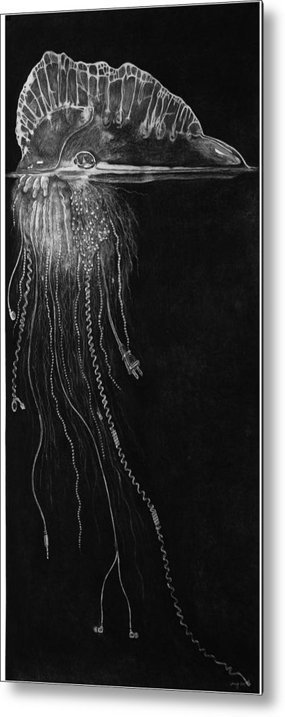Environment Metal Print featuring the drawing Jellyfish With Cords by Elizabeth Comay