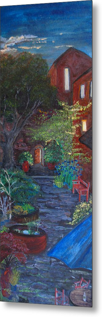 Villa Metal Print featuring the painting Sunset At The Villa by Dixie Adams