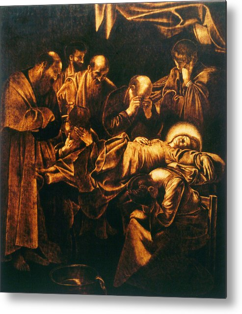 Dino Muradian Metal Print featuring the pyrography Death Of The Virgin by Dino Muradian