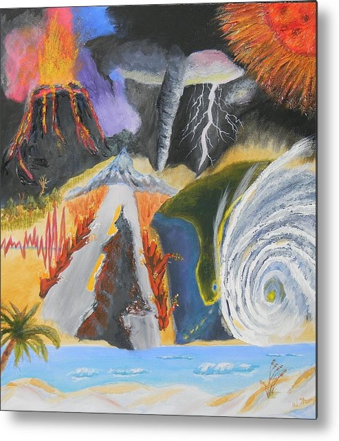 Volcano Metal Print featuring the painting earth Wind and FIRE by Warren Thompson