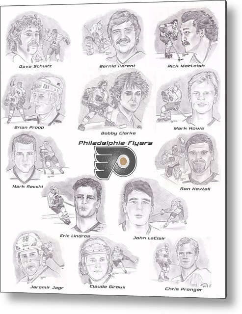 Philadelphia Flyers Metal Print featuring the drawing Flyer Greats by Chris DelVecchio