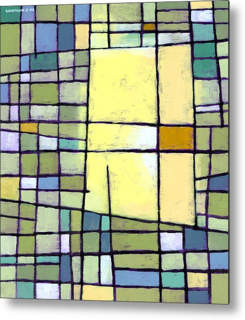 Abstract Metal Print featuring the painting Lemon Squeeze by Douglas Simonson