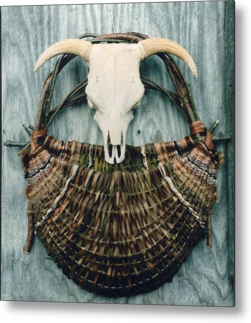 Wall Basket Metal Print featuring the mixed media Skull Basket by Stephen Hawks