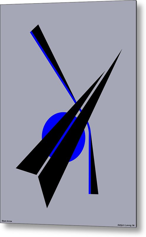 Black Arrow Metal Print featuring the digital art Composition Black Arrow by Asbjorn Lonvig