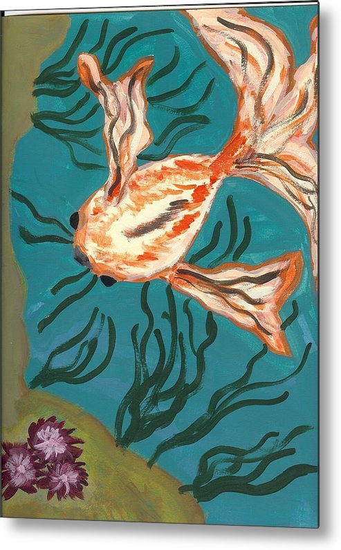 Fish Metal Print featuring the painting Here Fishy Fishy by Laura Lillo