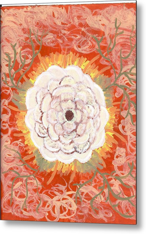 Flower Metal Print featuring the painting Peaches And Cream by Laura Lillo