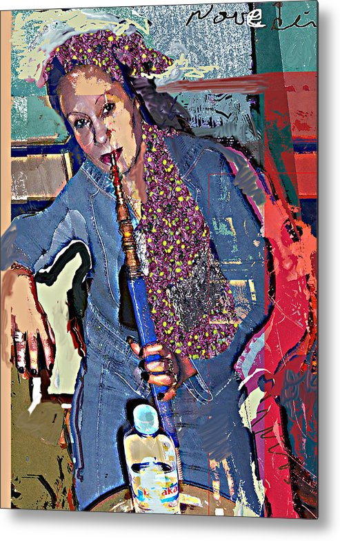 Portrait Metal Print featuring the mixed media Sheesha by Noredin Morgan