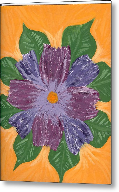 Flower Metal Print featuring the painting Viola by Laura Lillo