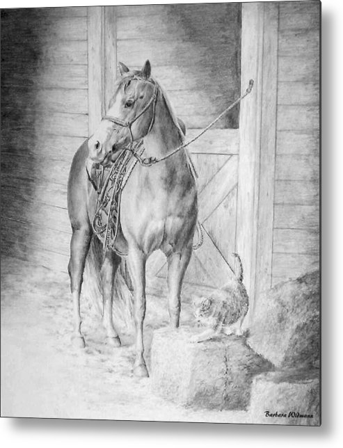 Horse Metal Print featuring the drawing Waiting To Ride by Barbara Widmann