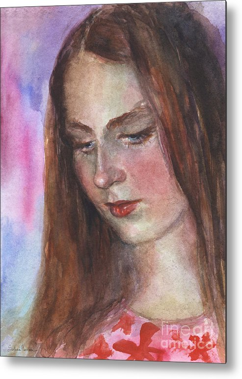 Girl 3 Metal Print featuring the painting Young Woman Watercolor Portrait Painting by Svetlana Novikova