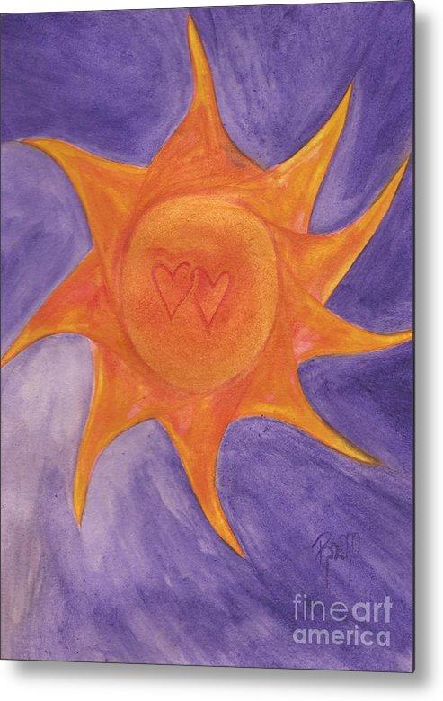 Sun Metal Print featuring the painting Connected by Robert Meszaros