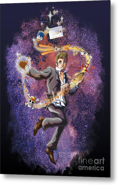 Space Metal Print featuring the drawing David T. by Tuan HollaBack