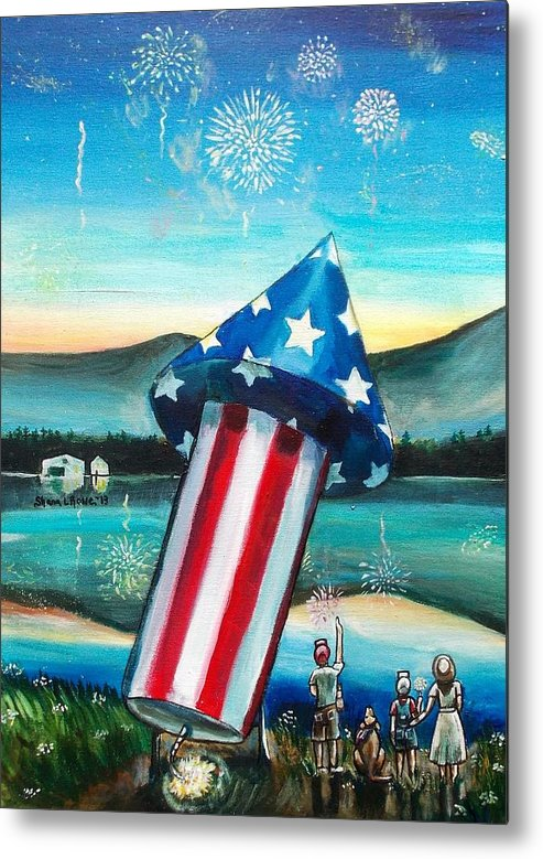 Firework Metal Print featuring the painting Grand Finale by Shana Rowe Jackson