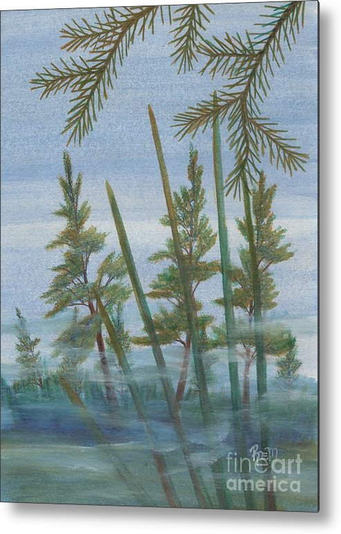 Landscape Metal Print featuring the painting Mist In The Marsh by Robert Meszaros