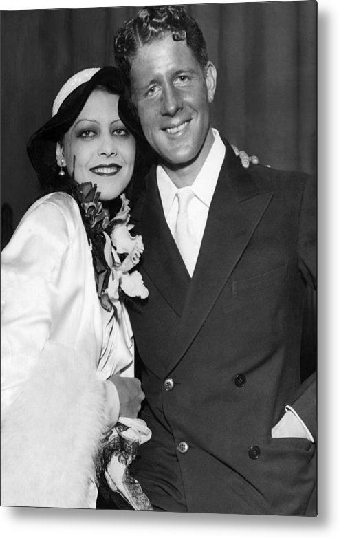 1930s Metal Print featuring the photograph Rudy Vallee Right, And His Wife, Fay by Everett
