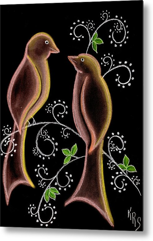 Bird Metal Print featuring the drawing Bird Doodle by Karen R Scoville