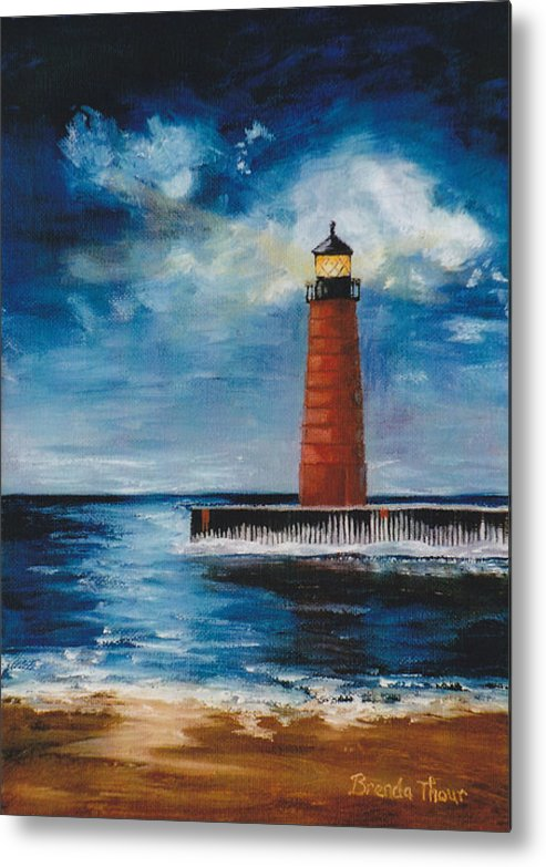 Lighthouse Metal Print featuring the painting Lonely Beacon by Brenda Thour