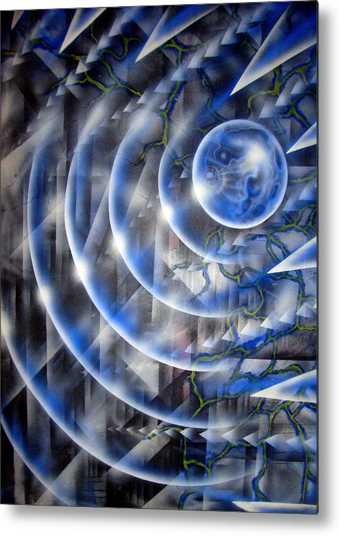 Paint Metal Print featuring the painting Blue Moon Falling by Leigh Odom