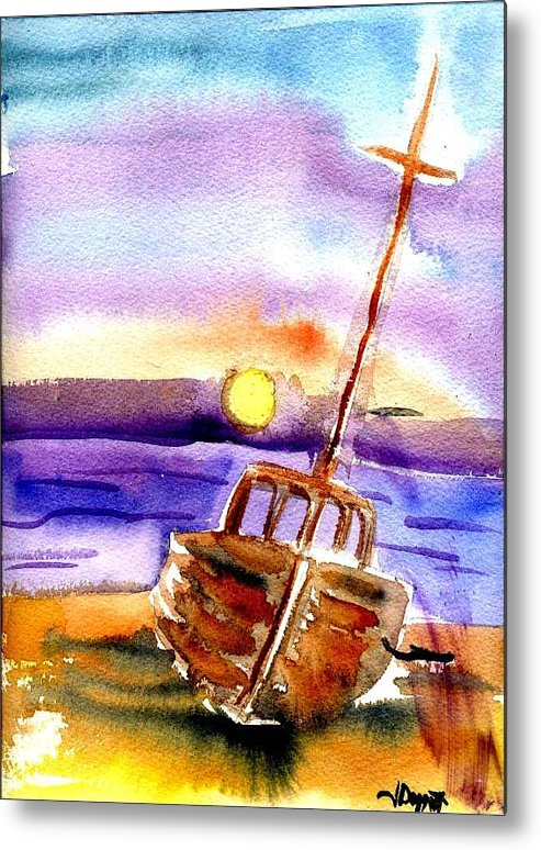 Boat Metal Print featuring the painting Boat Ashore by Janet Doggett