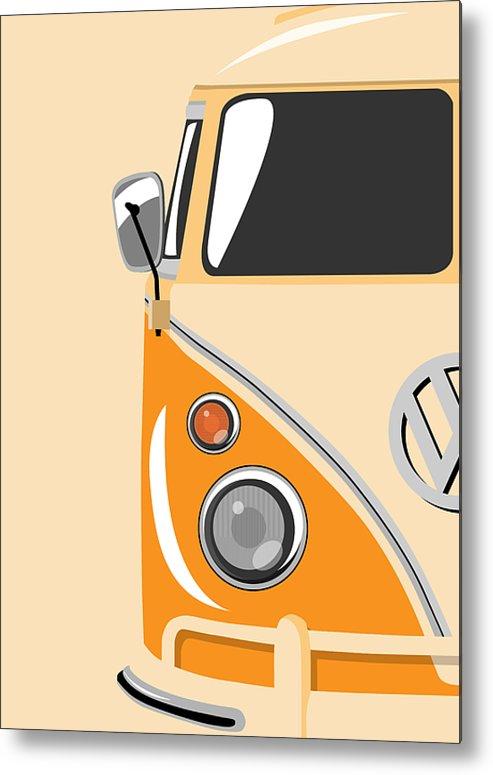 Vw Camper Van Metal Print featuring the digital art Camper Orange by Michael Tompsett