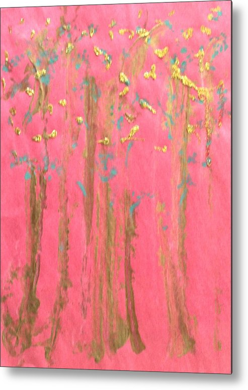 Abstract Metal Print featuring the painting Enchanted Forest - Abstraction by Michela Akers