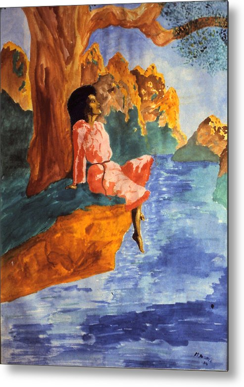 Sweden Metal Print featuring the painting Floating By The River by Maurice Noble