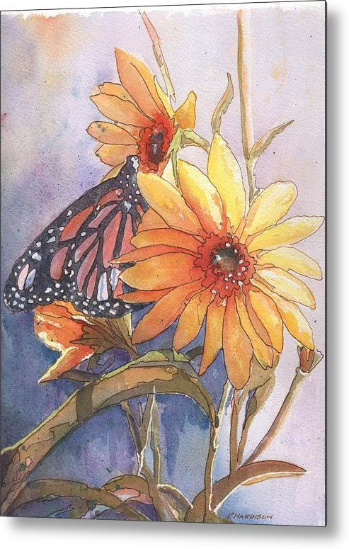 Flower Metal Print featuring the painting Flower And Monarch by Robynne Hardison