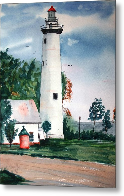Watercolor Metal Print featuring the painting Fort Gratiot Lighthouse Michigan by Larry Hamilton