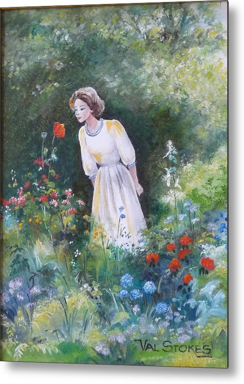 Garden Metal Print featuring the painting Garden Walk A by Val Stokes
