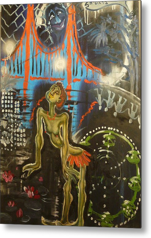 Transrealist Metal Print featuring the painting I Am Dancing At The Birthday Celebration Of Civilization by Zsuzsa Sedah Mathe