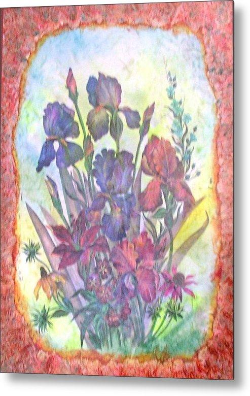 Floral Metal Print featuring the mixed media Itallian Garden by John Vandebrooke