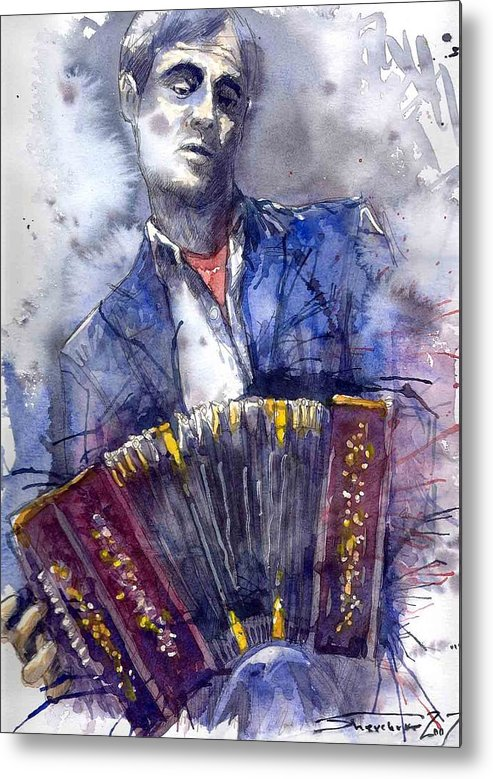 Jazz Metal Print featuring the painting Jazz Concertina Player by Yuriy Shevchuk