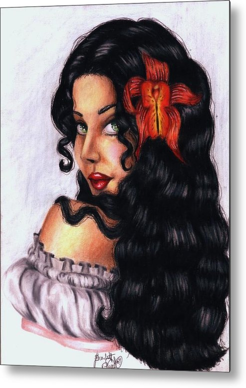 Woman Metal Print featuring the drawing Lolita by Scarlett Royal