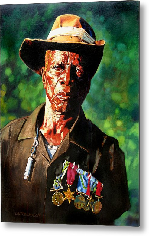 Black Soldier Metal Print featuring the painting One Armed Soldier by John Lautermilch