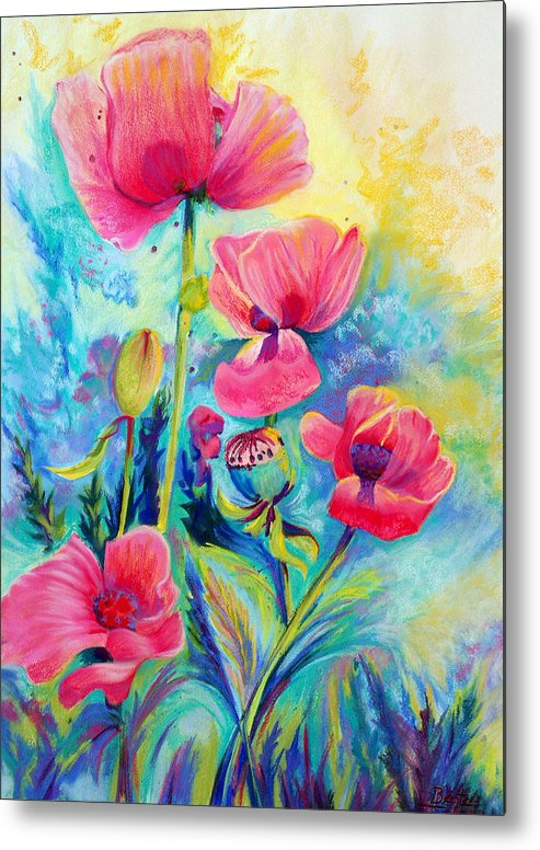 Floral Metal Print featuring the painting Poppies by Bente Hansen