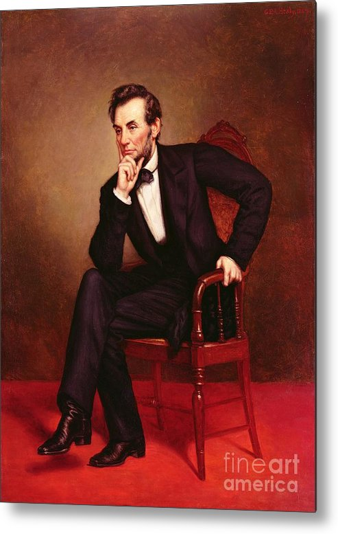 Portrait Of Abraham Lincoln (oil On Canvas) By George Peter Alexander Healy (1808-94) Metal Print featuring the painting Portrait Of Abraham Lincoln by George Peter Alexander Healy