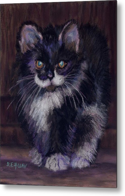 Kitten Metal Print featuring the painting Ready For Trouble by Sharon E Allen