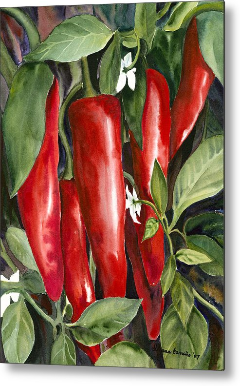 Red Chili Peppers Metal Print featuring the painting Red Chili Peppers by Ileana Carreno