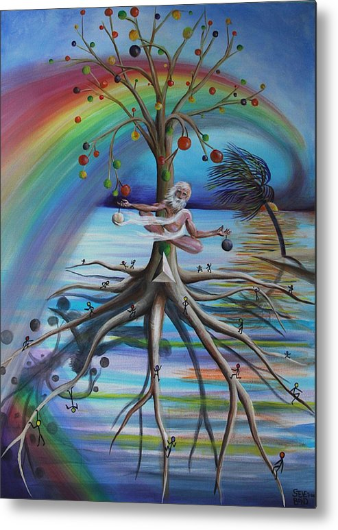 Rainbow Of Colors Metal Print featuring the painting Rising Above Illusion by Virginia Bond