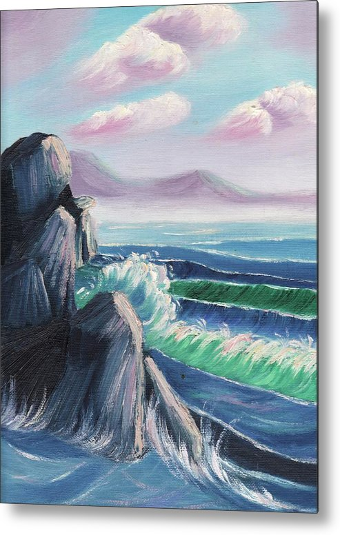 Rock Metal Print featuring the painting Rocks And Sea by Suzanne Marie Leclair