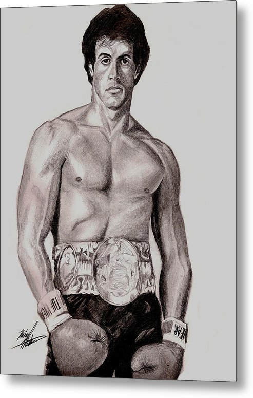 Rocky Metal Print featuring the drawing Rocky 3 by Michael Mestas