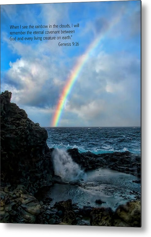 Scripture And Picture Genesis 9:16 Metal Print featuring the photograph Scripture And Picture Genesis 9 16 by Ken Smith