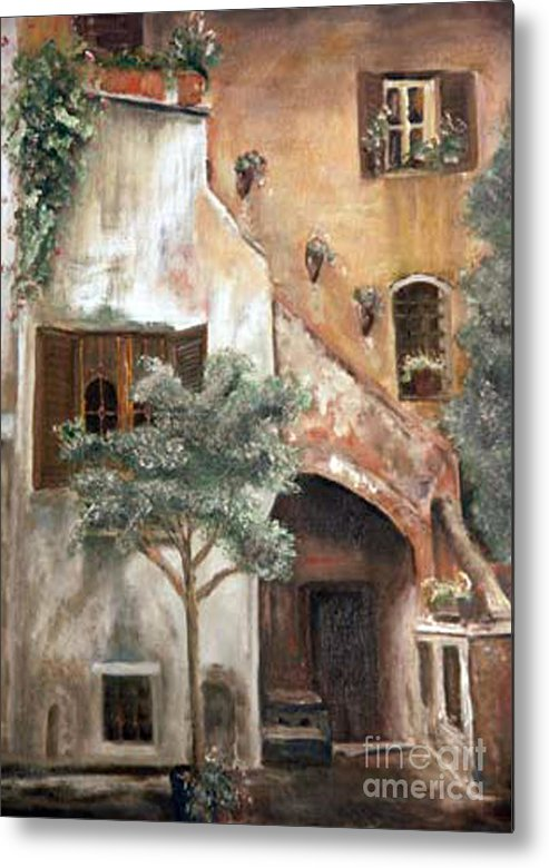 Building Metal Print featuring the painting Secret Garden by CJ Rider