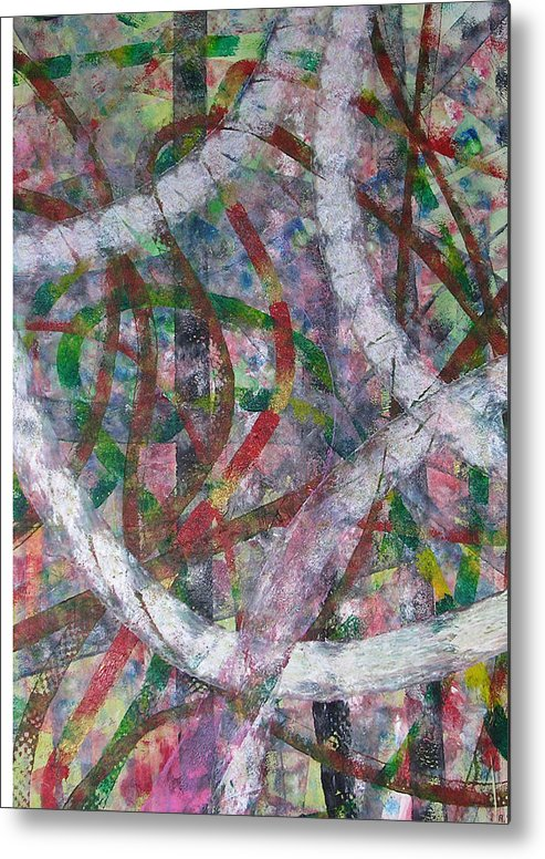 Abstract Metal Print featuring the painting Swirl I by Russell Simmons