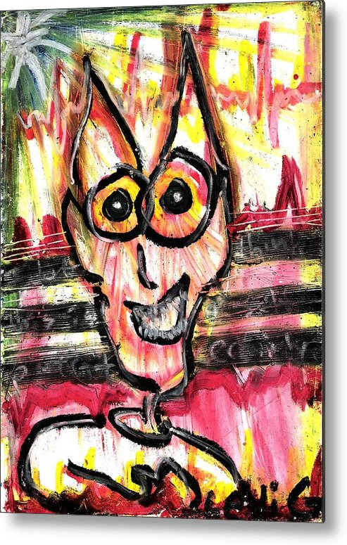 Cartoon Cat Metal Print featuring the pastel This Ain't Me by Levi Glassrock
