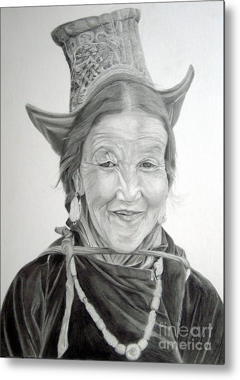 Figurative Art Metal Print featuring the drawing Tibetan Delight by Portraits By NC
