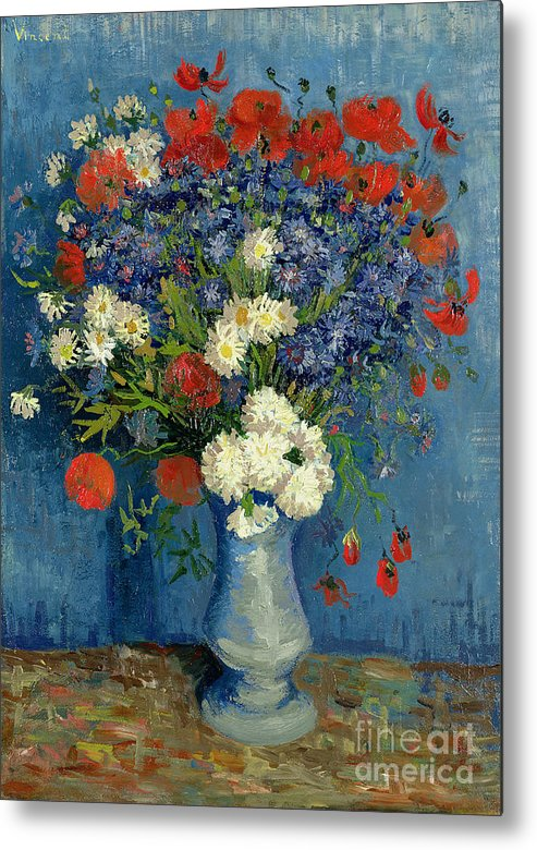 Still Metal Print featuring the painting Vase With Cornflowers And Poppies by Vincent Van Gogh