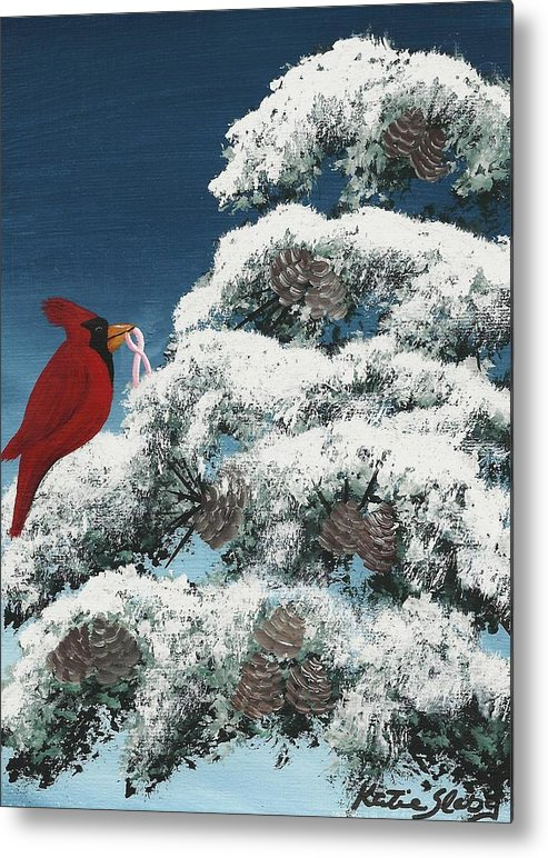 Cardinal Metal Print featuring the painting Victorious by Katie Slaby